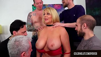 Mature Cumslut Karen Fisher Has Her Assets Used by Five Horny Guys