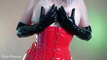 hot blonde fetisch milf topless with opera long latex gloves