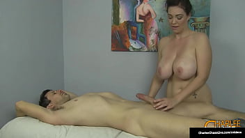 Throbbing hard cock gets a sensual massage from super busty cougar Charlee Chase, before she rides it, titty fucks it and busts that nut! Full Video & Charlee Live @ CharleeChaseLive.com!