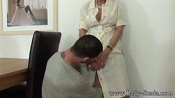 Busty British MILF Lady Sonia fucking a hot y. guy