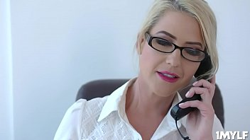 Student was sent to the principals office and there Milf Kit Mercer takes advantage of him and fuck the hell out of him