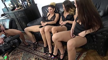 House Party with four incredibly sexy and hot long legs sluts at home with striptease and erotic dances