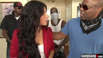 Big black cocked duddes gangbanged a busty MILF housewife