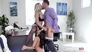Babe gets seduced by her boss & his MILF wife