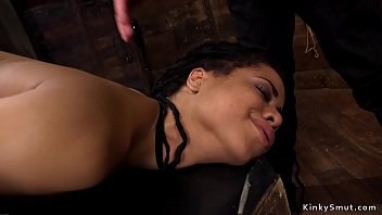 Hot small tits ebony slave gets deep throat rough fucked Thumbnail