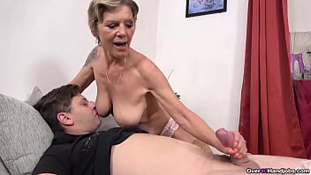Hot older granny Inke gives an amazing handjob in this over 40 handjobs update. Watch as she jerks off a young man and makes him cum hard  from just jerking him off