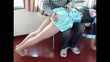 Chinese spanking  with carpet beater and a whip