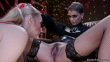 Blonde lesbian slave made by alt mistress eat her hairy pussy