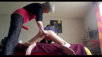 Old Woman Stretches Guy's Ass With Big Dildo And Strapon