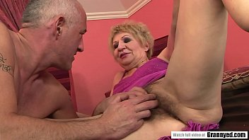 Old Granny's Pussy Serviced by Toys and White Dick