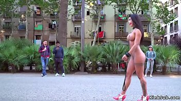 Curvy petite brunette Euro babe Susy Gala in red dress humiliated and d. in public