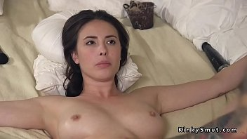 Brunette bride in rope bondage pussy and asshole fucked