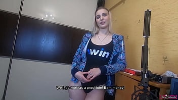 Older brother offered his little sister to earn some money with help of her body! Creampie pussy twice!