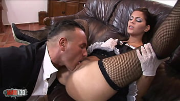 Horny brunette in french maid uniform ass fucked