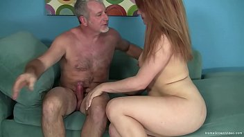 Real amateur chick with small tits sucks and fucks an old guy