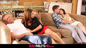 MILF Stepmom Miss Raquel And StepDaughter Penelope Reed Sex With Boyfriend While Dad Naps