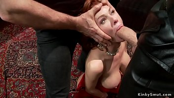 Milf made suck huge dick then redhead gagged too till bound busty redhead and blonde anal fucked