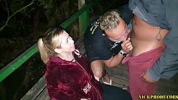 Dogging with Mirella's hot, sucking dick with her