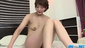 Hot japan girl Saori play with toy