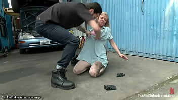 Natural busty blonde slut Penny Pax is rough dominated by Tommy Pistol she met at therapist and rough throat and anal fucked in his auto body shop