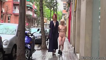 Petite small tits Euro slave Nora Barcelona brough to public bar and made to suck dicks before pussy fisted