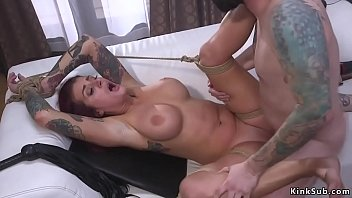 Mad cop Tommy Pistol caught hot redhead huge tits Tana Lea while breaking in her house because she lost keys and then in bondage rough banged her