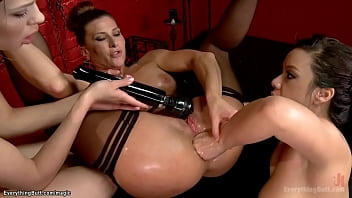 Two hot lesbian slaves Alexa Nova and Kimmy Lee are made rimming and anal fisting then they are anal fucked by lezdom Ariel X in threesome