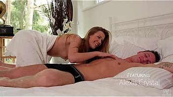 Petite natural beauty Alexis Crystal wakes her man to surprise him with a wet morning blowjob