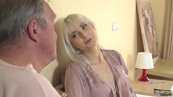 Deepthroat blowjob for young blonde after riding grandpa cock and sucking his cock