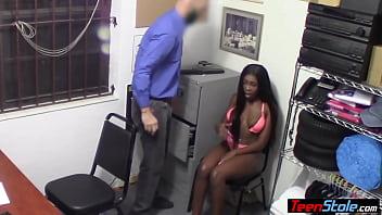 Busty black teen thief interracial banged by a perv cop