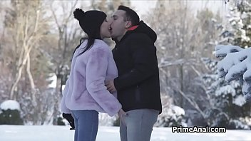 Blowjob in the snow then rimjob in the living room