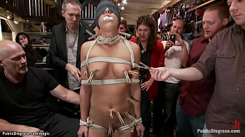 Beautiful face and big tits blindfolded and bound slut Mischa Brooks is pussy fisted by dominatrix Princess Donna Dolore and fucked in public