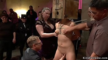 Tied petite brunette Asian slut Micah Halili made to suffer pain from strangers in public with head in box then rough fucked by big dick
