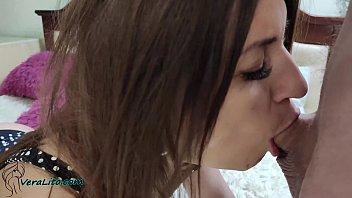 Hot Brunette Sensual Blowjob Big Dick Boyfriend - Oral Creampie
