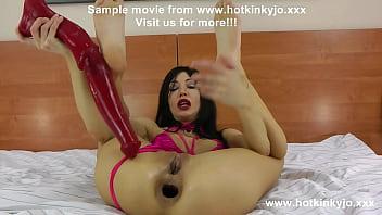 HKJ belly bulge deep anal horse dildo & gape