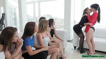 Lesbian lessons for a group of sexy chicks