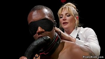 Blonde Milf domme anal bangs black dude with strap on dick