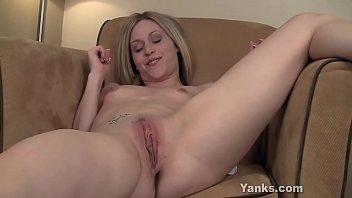 Tattooed blonde honey from Yanks Maddie masturbating her snatch for intense orgasm