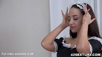 White dick enters sexy french maid