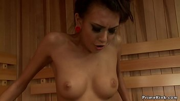 Solo slim petite brunette babe Janice Griffith with nice pair of tits masturbates in sauna then fucks machine till gets orgasm and rides Sybian in the end