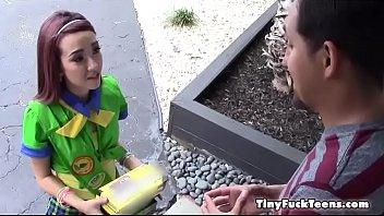 Tiny Teen Creeps In Backyards
