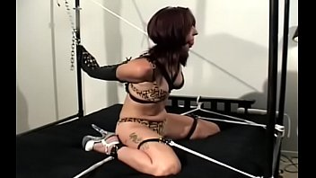 Aged babe gets bounded rock hard