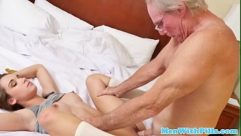Teen beauty railed in tight pussy by old cock