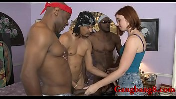 Skanky curvy red haired babe Jodi Taylor double fucked in her pussy and asshole by massive black cocks on the couch