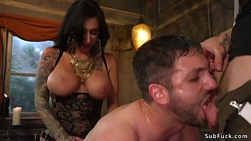 Huge tits alt mistress Lily Lane in fishnet and latex and alt male master Ruckus tormenting and gang bang anal fucking slave Jay West