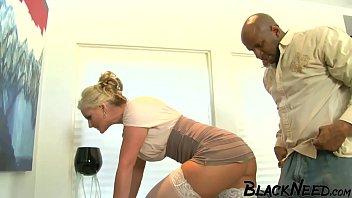 Blonde MILF Ball Sucking The Ebony Guy!
