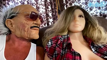 Old man gets it on with a sexy doll with big boobs BJ buttfuck