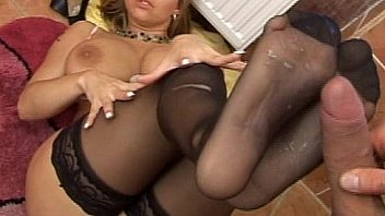 SLut in stockings foot fucks and gets plowed