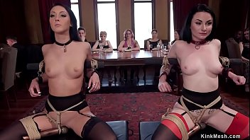 Head slave Veruca James and Sabrina Banks are presented to crowd in bdsm brunch party and then fucked by big dick guy