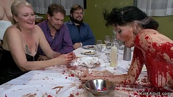 Brunette slave is spanked in public soup course then anal toyed till in suspension gets mouth banged and lezdom fucked